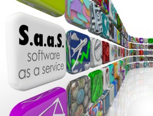 Saas Software as a Service words on an application or program tile to illustrate programs you can license for your business