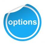 Pegatina azul con pestaa texto options